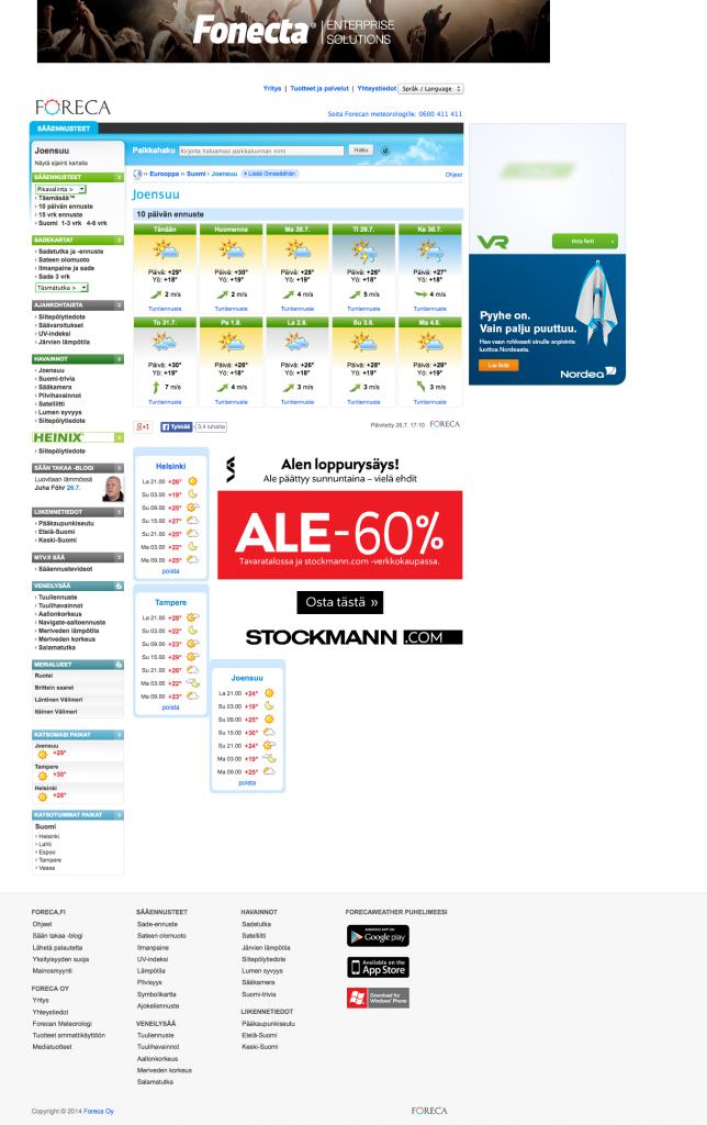 10 vrk sää Joensuu - Foreca.fi